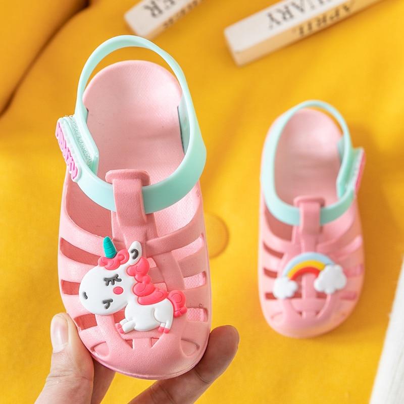 Unicorn Sandals For Boy Girl Rainbow Horse Shoes Summer Toddler Animal Kids Outdoor Baby Slippers PVC Cartoon Children Sandals