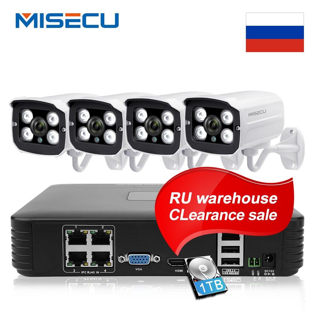 MISECU 4CH 1080P POE NVR Kit CCTV System With 1TB 2MP IP Camera IR Night Vision P2P Onvif Video Surveillance Set RU Warehouse