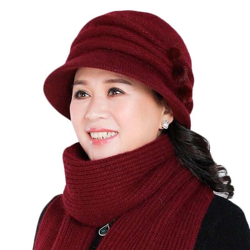 New Women Hat Scarf Set Winter Mom Hat And Scarf Set For Women Plus Velvet Rabbit Fur Hat Winter Knitted Women Warm Bucket Hat