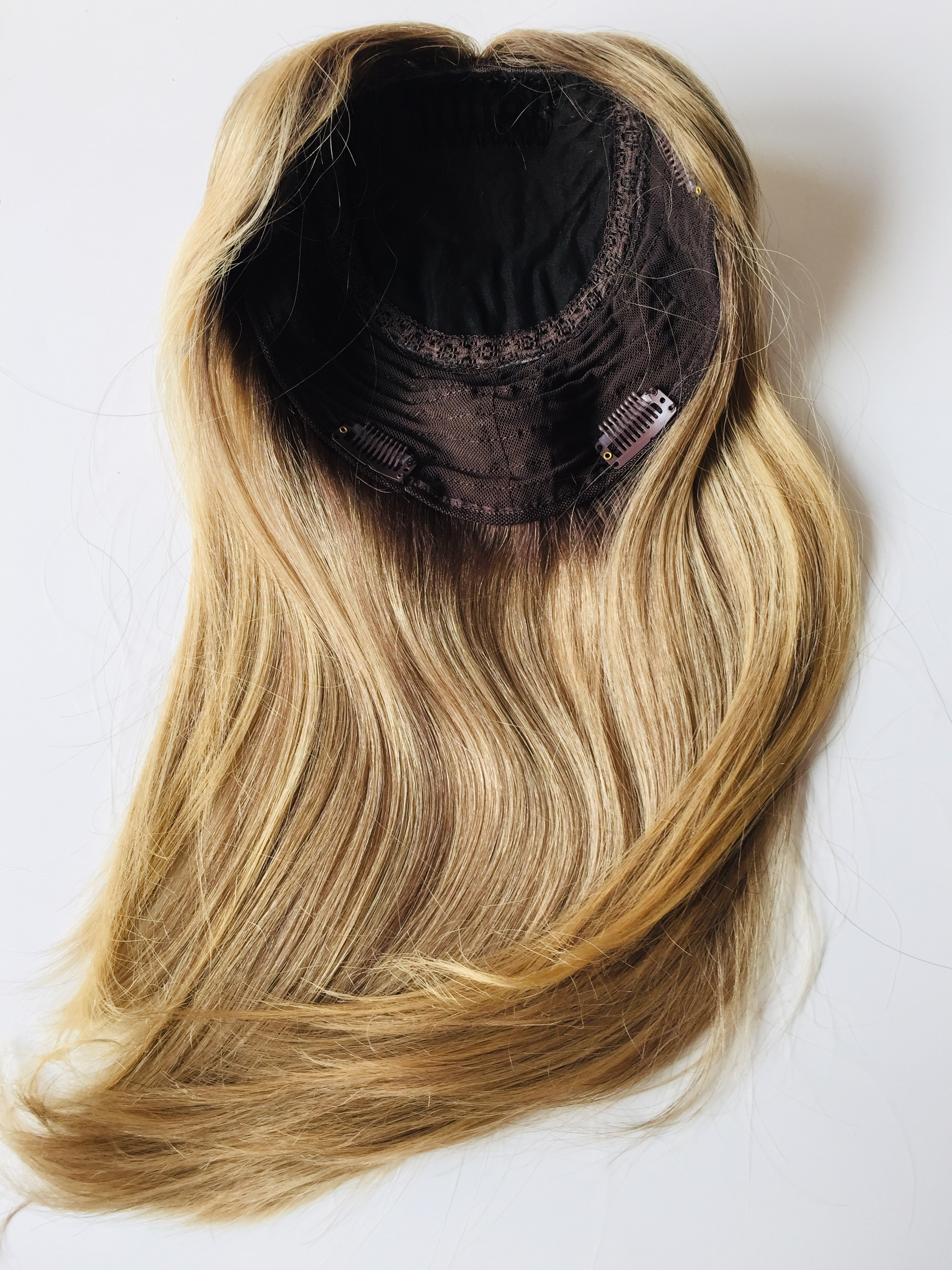 Top Quality European Virgin Hair Dark Rooted Highlight Color Jewish Topper Women Hair Piece