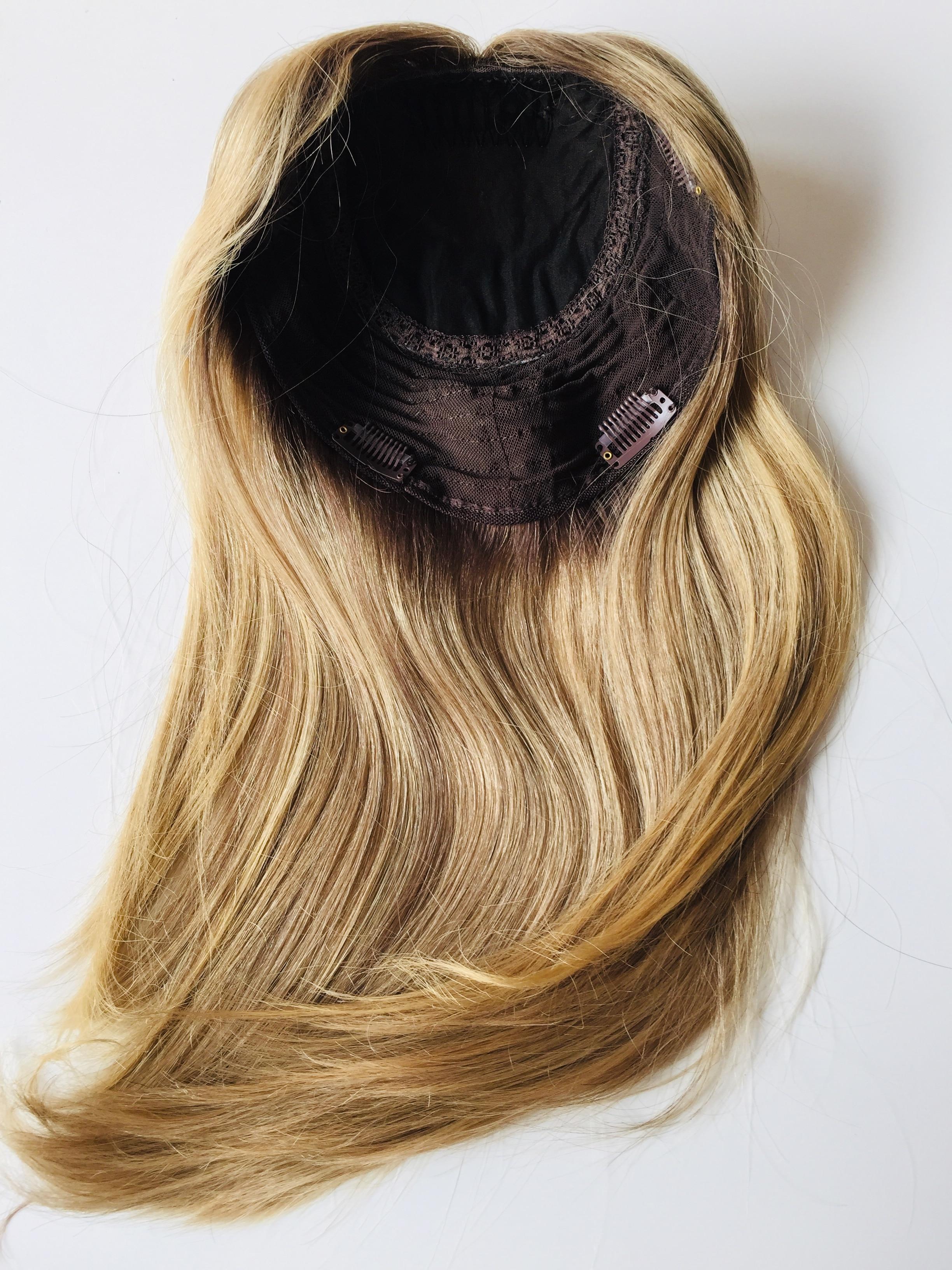 Top Quality European Virgin Hair Dark Rooted Highlight Color Jewish Topper Women Hair Piece