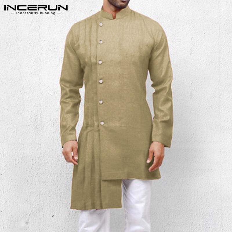 INCERUN Vintage Irregular Shirt Men Solid 2020 Ethnic Stand Collar Long Sleeve Indian Clothing Men Long Shirts Kaftan Plus Size