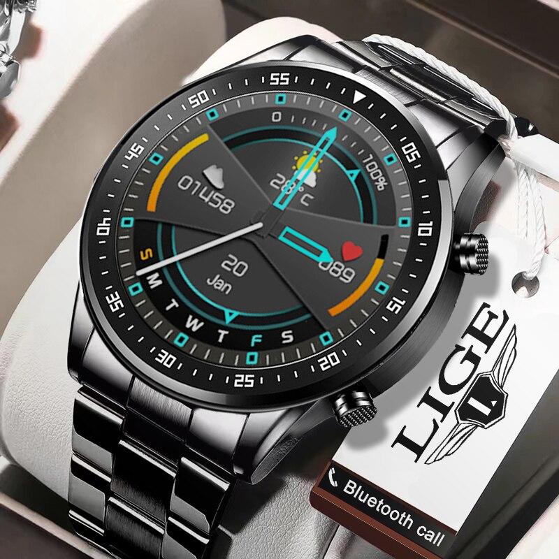 ליגע 2020 חדש חכם שעון גברים מלא מסך מגע ספורט כושר שעון IP68 עמיד למים Bluetooth עבור אנדרואיד ios smartwatch Mens