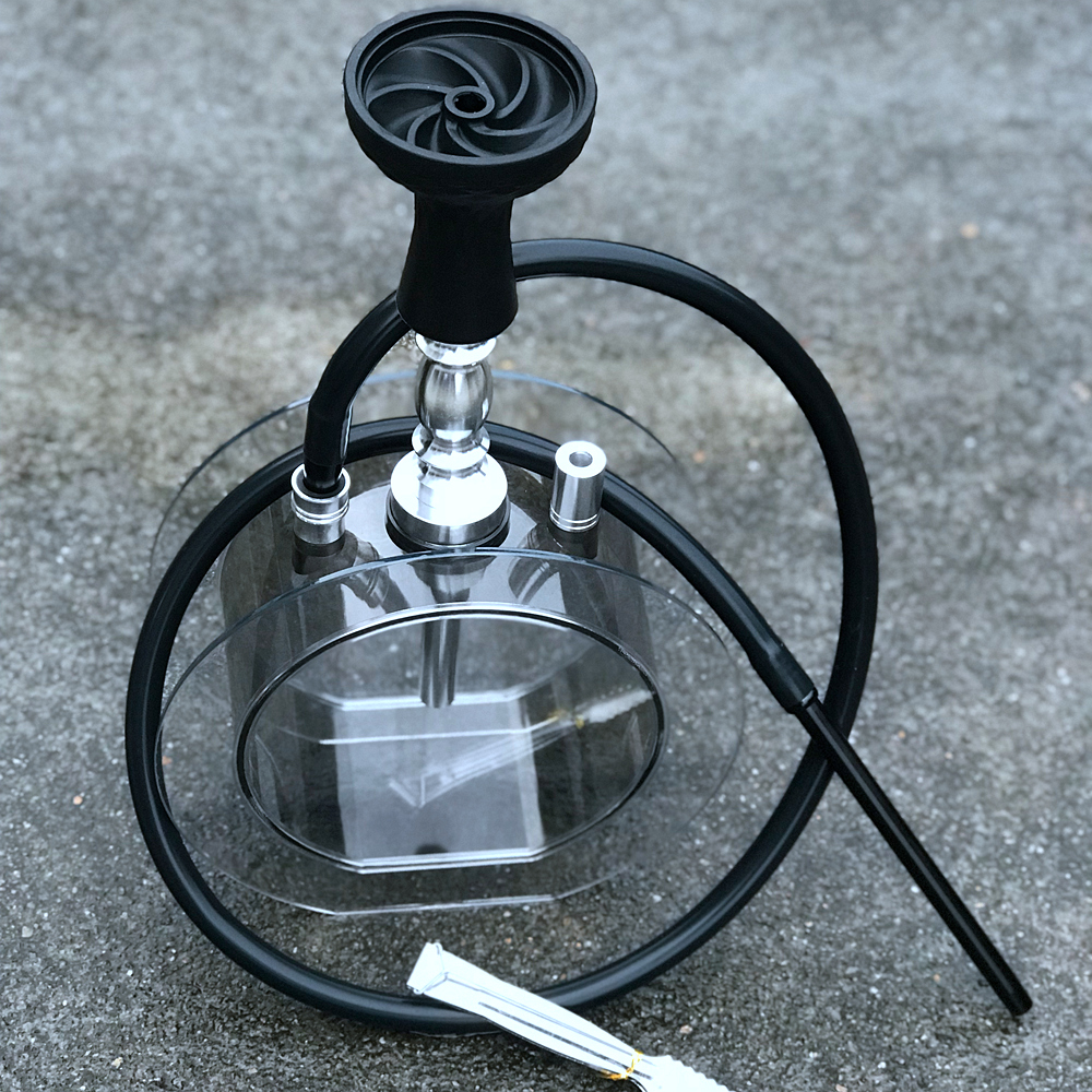 New Round Acrylic Hookah Set Water Pipe Shisha With Sheesha Silicone Bowl