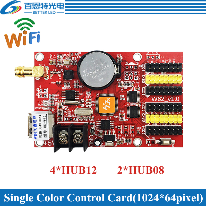 HD-W62 USB+Wifi 4*HUB12 2*HUB08 Single Color(1024*64 Pixels) & Dual Color(512*64 Pixels) LED Display Control Card