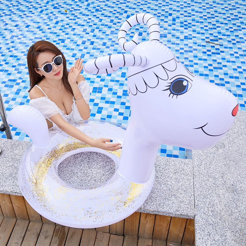 Inflatable Goat Animal Pool Float Swimming Ring Circle Rubber Ring For Adult Kids Floating Seat Summer Beach Party Pool Toys
