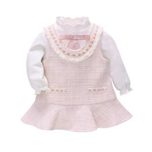 A Roupa Do Bebê recém-nascido Set Princesa 1st Aniversário Do Bebê Menina Roupas Primavera Outono Do Bebê Meninas Vestido + T camisa 2pcs vestido de algodão Do Bebê