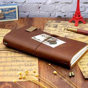 100% Genuine Leather Traveler\'s Notebook travel Diary Journal Vintage Handmade Cowhide Gift planner Free Lettering Embosse