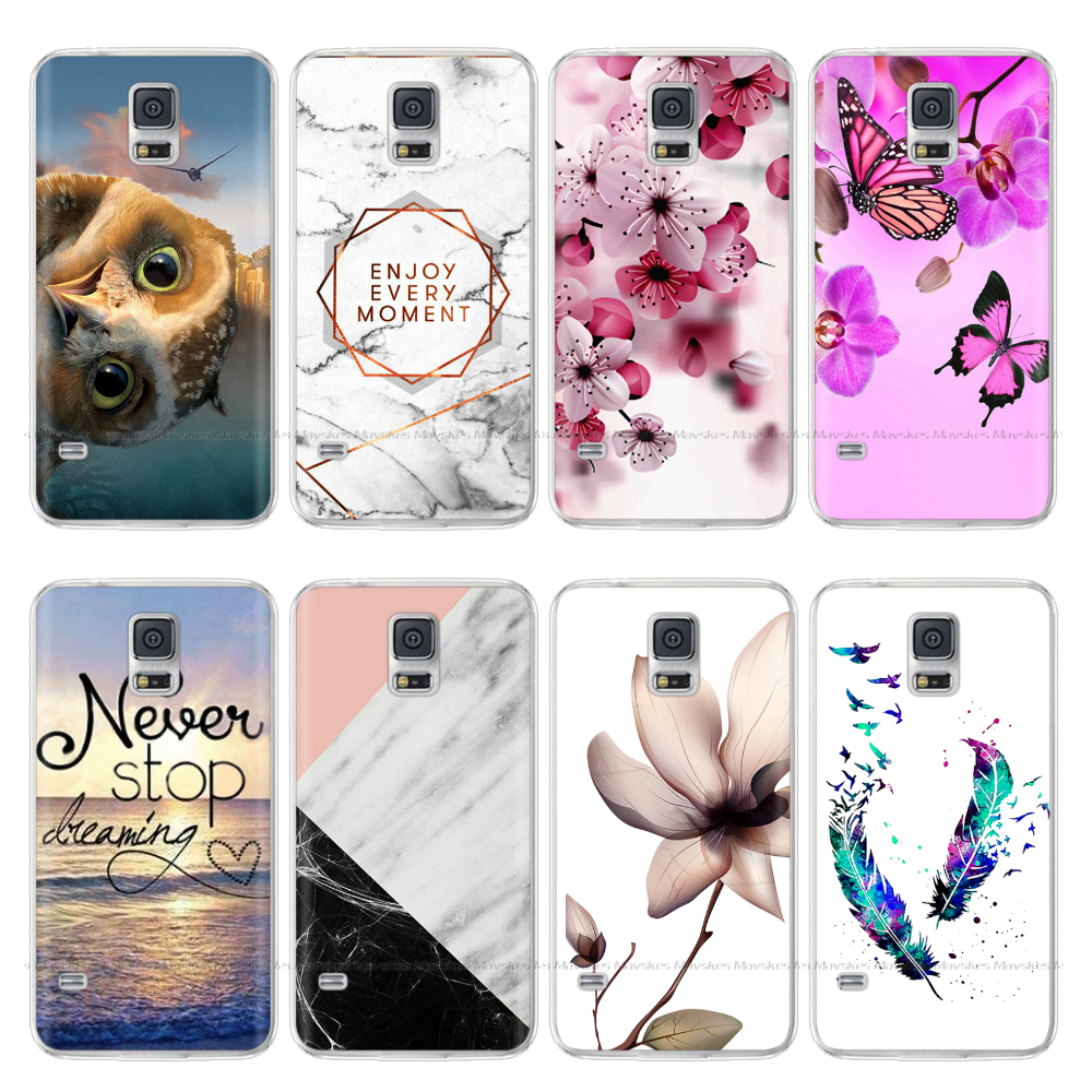 Soft Silicone Case For <font><b>Samsung</b></font> Galaxy S5 Case i9600 SM-G900F Clear TPU Back Cover For <font><b>Samsung</b></font> S5 Mini <font><b>G800F</b></font> Cute Cat Flower bags image