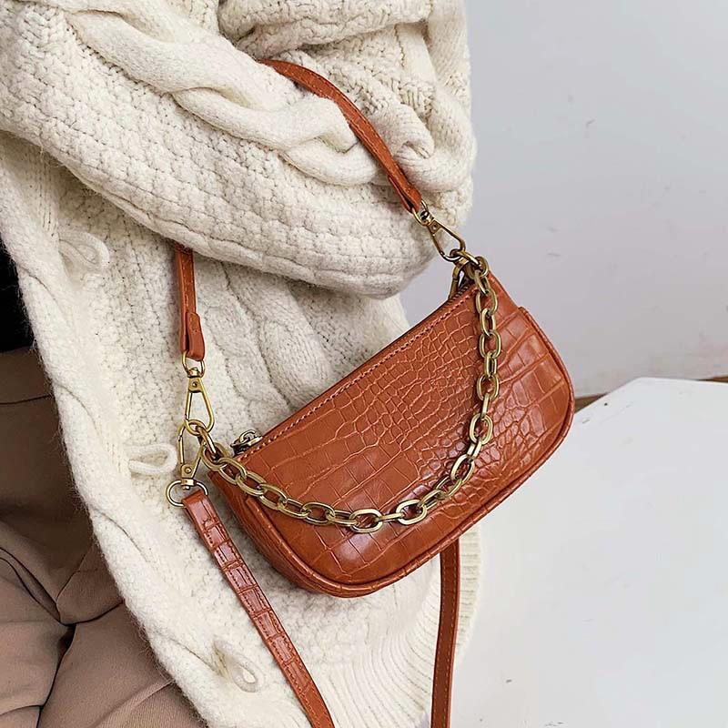 Leather Crossbody Bag For Women Mini Fashion Messenger Bag Retro Evening Handbag Chain Shoulder Bags Small Purse Female Bols