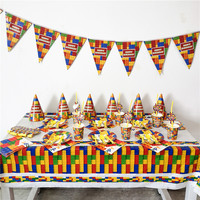 93pcs/set Blocks Theme Party Paper Plate Cup Napkin Banner Straw Tablecloth Kid Birthday Party Decor Supply Disposable Tableware