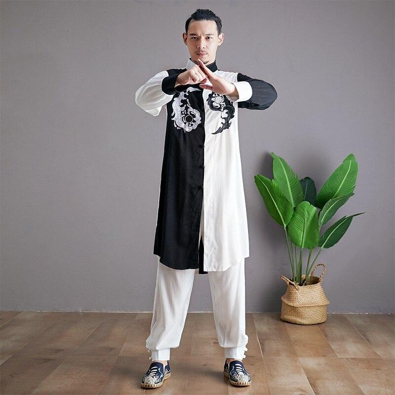 Linen Shirts Men Tracksuit Pants Sets Two Piece Kong Fu Suit Mens Streetwear Fashion Sweat Pant 2019 Men'S Sets KK3174 - 4