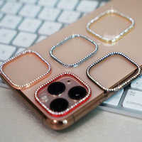 For iPhone Rhinestone Diamond Round Metal Rear Camera Back Lens Bling Protector Cover For iPhone 7 8 Plus X XR XS Max 11 Pro Max
