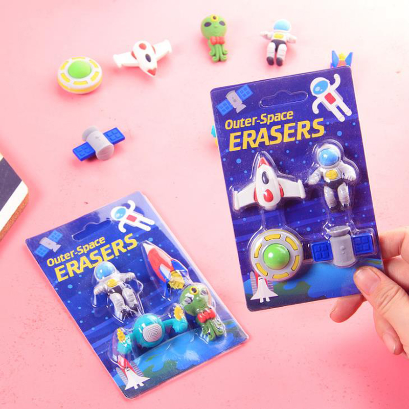 4 Pcs/pack Kawaii Flying Saucer Alien Spaceship Shape Rubber Pencil Erasers Korean Stationery School Supplies Papelaria Gift