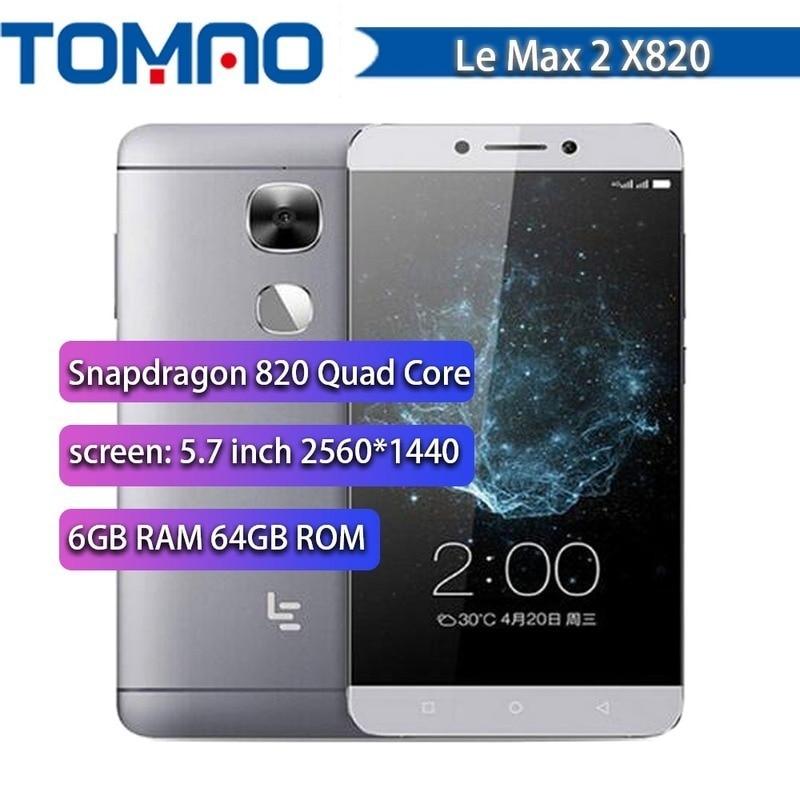 Letv – téléphone portable LeEco Le Max 2 X820 4G LTE, écran de 5.7 pouces, SmartPhone, mémoire de 4GB et 32GB, Snapdragon 820 Quad Core, 2560x1440, caméra de 21mp, empreintes digitales, Google