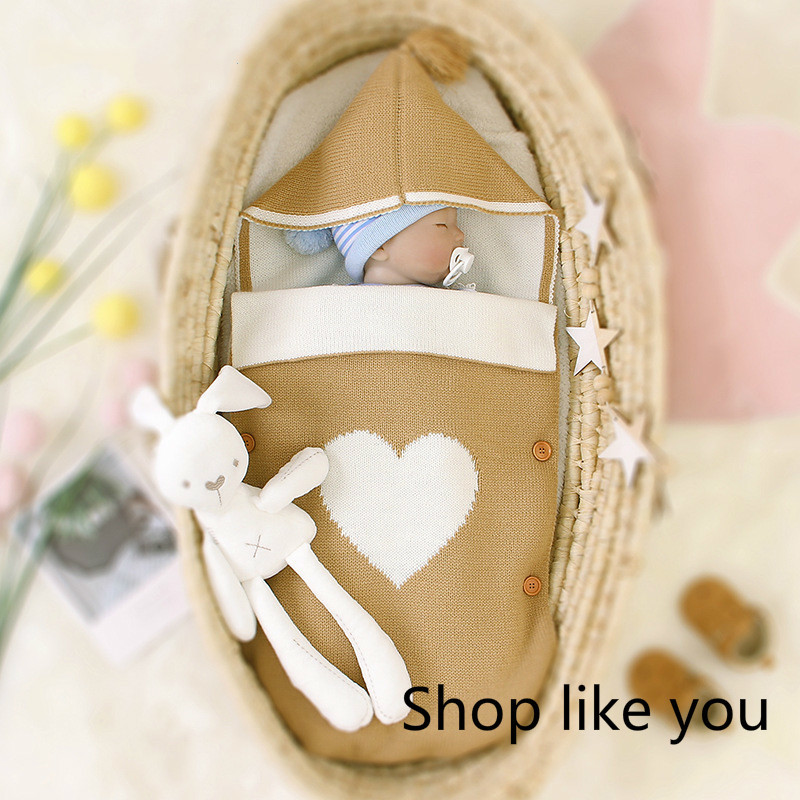 Baby Sleeping Bag Envelope Children Hat Sleeping Bag Blanket Knitted Swaddling Envelopes New Born Boy Girl Keep Warm Fashion