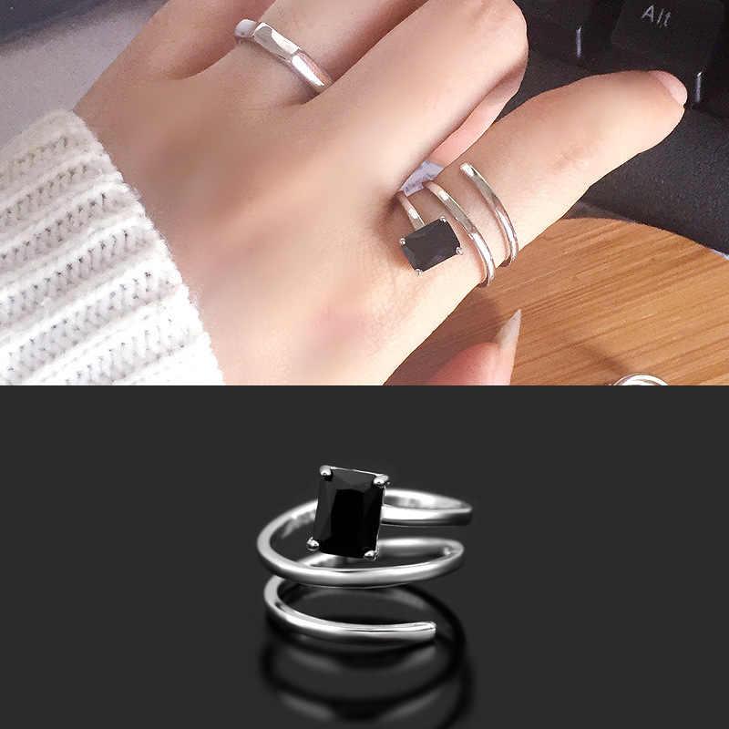 רטרו תאילנדי כסף רב שכבתי מתפתל אצבע טבעת עם שחור זירקון 925 כסף סטרלינג תכשיטי מתכוונן S-R352