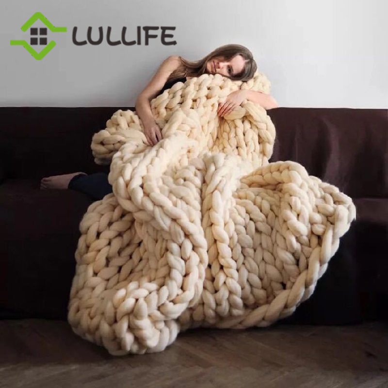 Chunky Braid Cotton Yarn Knitted Throw Blanket Adult Bed Sofa Throw Warm Hand-knitted Blanket Large Throw Cover Home Accessories