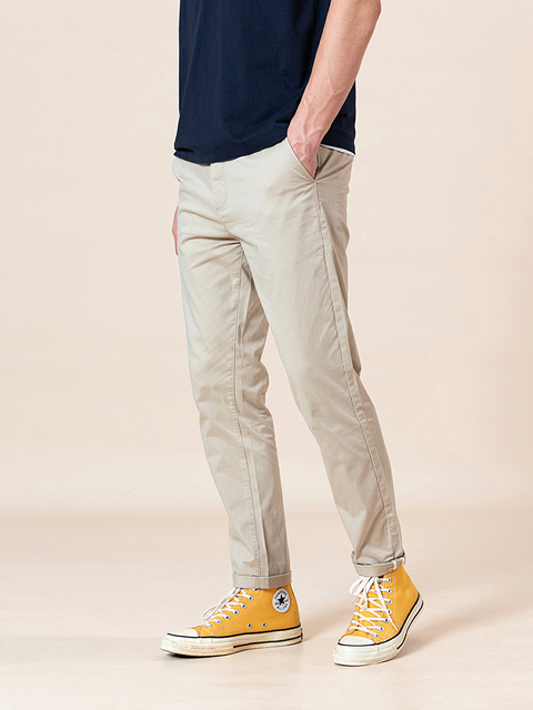 SIMWOO 2020 Spring Summer New Slim Fit Tapered Pants Men Enzyme Washed Classical Chinos  Basic Plus Size Trousers SJ150482 59