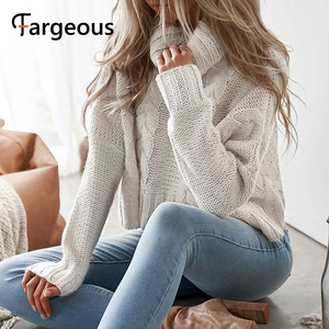 Image 4 - Long Sleeve Turtleneck Crop Sweater 2019 Autumn Winter Thick Solid Harajuku Oversized Pullover White Kintted Jumper Tops