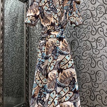 Latest Fashion Dress New 2021 Summer Style Women V-Neck Bow Belted Short Sleeve Large Swing Vintage Print Dress Casual Clothes