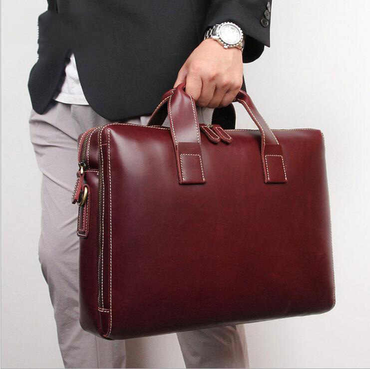 MAHEU British Style Leather Briefcase Luxury Fashion Designer Shoulder Bag Laptop Business Bag Genuine Leather For Gentleman