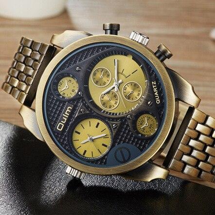 Oulm Big Watch Man Luxury Brand Quartz Wrist Watches Gold Men Full Steel Watch Military Male Clock Montre Homme Masculino Reloje