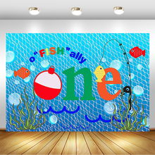 Gone Fishing 1st Birthday Party Photography Backdrop Fish Ally Blue Fishing Nets Bubbles Background Photo Booth Studio Props 5x7ft dark blue backdrop dark blue ocean world photography background and photography studio backdrop props