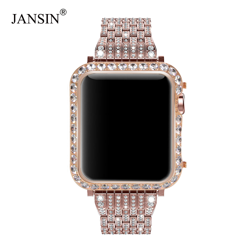 Luxury Metal Diamond Case For Apple Watch Series 5 4 3 2 Stainless Steel Strap Watch Bands For IWatch Bracelet 38 42 Mm 40 44mm