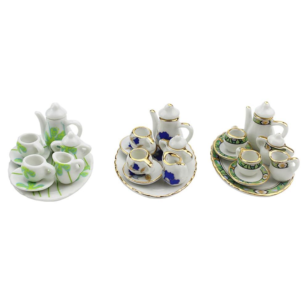 8Pcs 1/12 Dollhouse Miniature Accessories Mini Ceramic Tea Set Simulation Kettle Cup Plate Model Toys For Doll House Decor Ob11