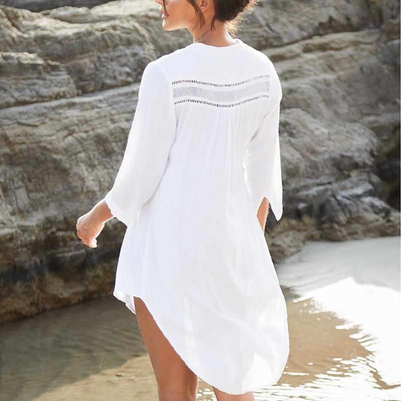White  Shirt Dress Sarong 2021 White Beachwear Lace Patchwork Tunic Pareo De Plage Beach Summer Dress Tunika Beach