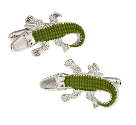 Crocodile Cuff Links For Men Alligator Design Quality Brass Material Green Color Cufflinks Wholesale&retail