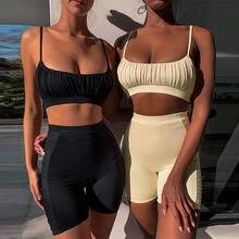 Rahat Set kadınlar iki 2 adet moda sıska eşleşen setleri spagetti kayışı kırpma üst kolsuz Tee ve elastik yüksek bel şort