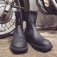 Brand High-Top Boots Men Black Zipper Motorcycle Riding Boot