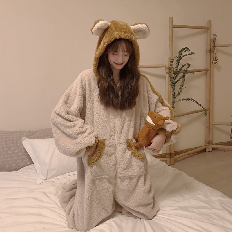 Thick Korean-style Cute Cartoon Animation Pajamas Winter One-piece Winter Women's Autumn And Winter Students Leisure Pajamas Tra