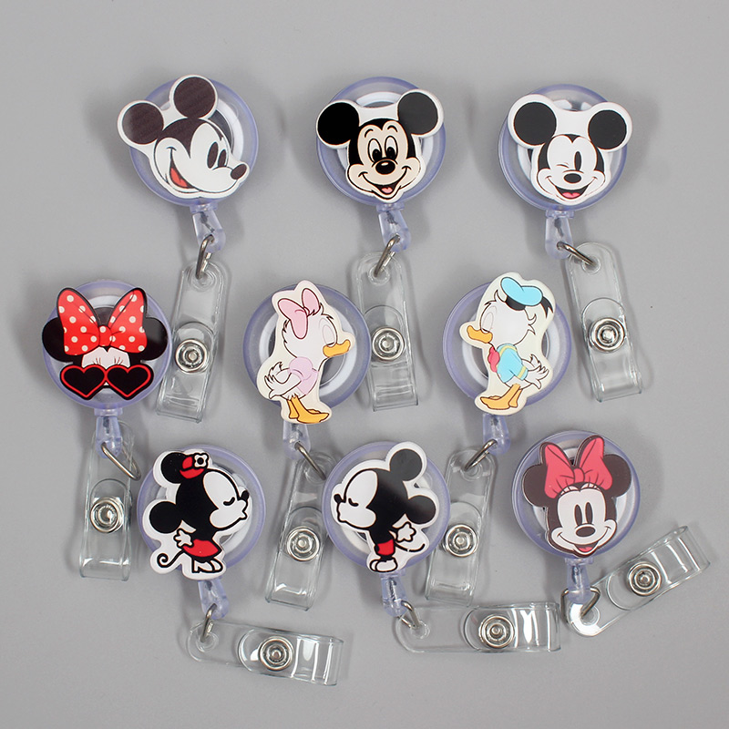 Creative 60cm Cartoon Acrylic Mini Mickey Identity Retractable Badge Reel Student Nurse Exhibition Enfermera Name Card Chest