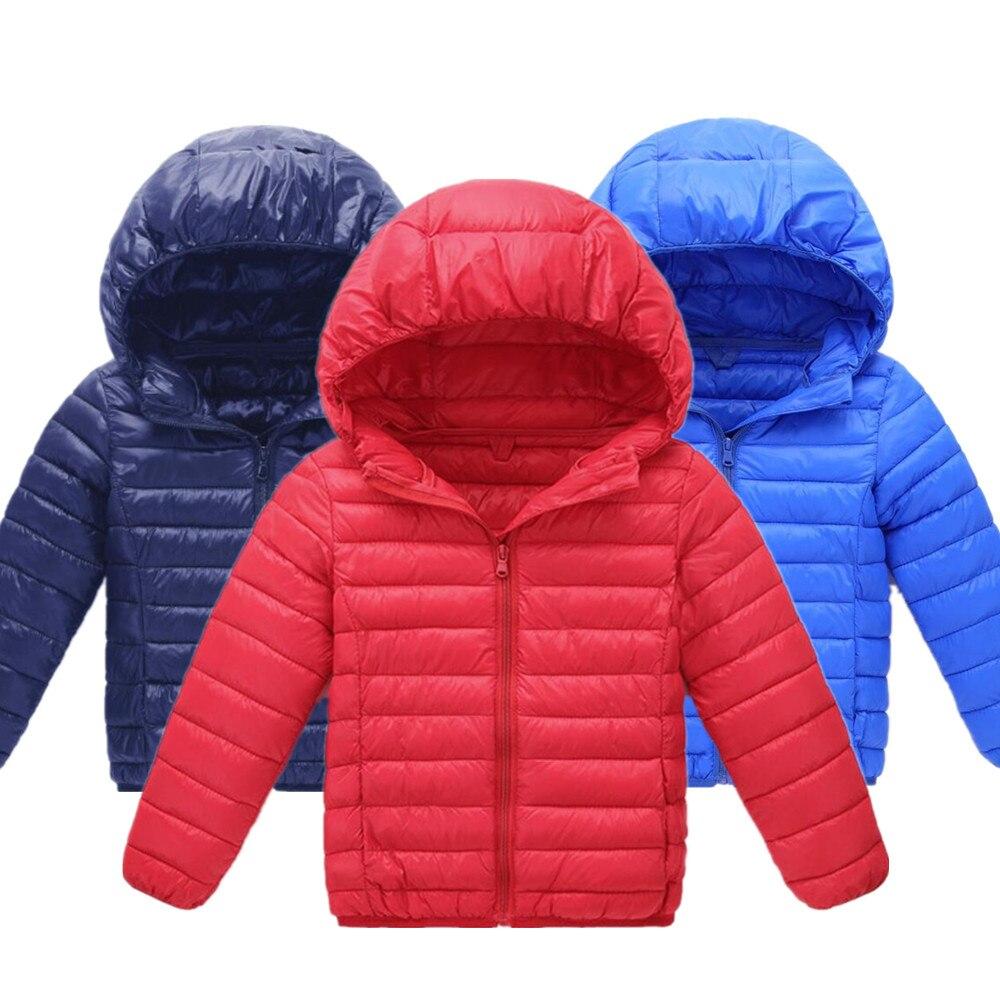 Детская одежда Новинка 2019 года, осенне-зимняя хлопковая куртка для мальчиков и девочек легкая Ультралегкая куртка пуховик Свободное пальто
