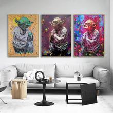 strong Import List strong Obraz na płótnie Disney Star Wars Movie Yoda kolorowe wydruki i plakaty obrazy na ścianę do dekoracji salonu Cuadros tanie tanio CN (pochodzenie) Wydruki na płótnie Pojedyncze PŁÓTNO akwarelowy abstrakcyjne bez ramki Malowanie natryskowe Pionowy prostokąt