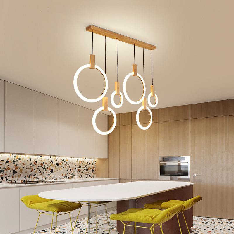 Modern Simple LED Kitchen Chandelier Wooden Decor Lighting Fixtures Nordic Pendant lamps Dining room Island Hanging Lights