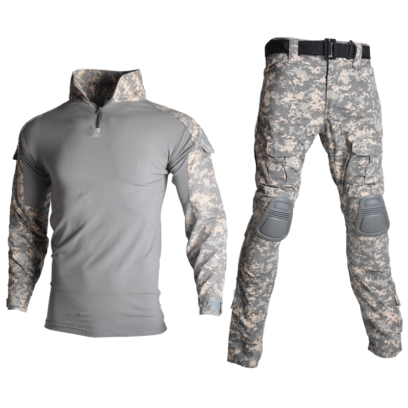 Tactical Camouflage Uniform Army Combat Training Clothing Set Military Airsoft Paintball Shirt Pants Suit with Elbow & Knee Pads