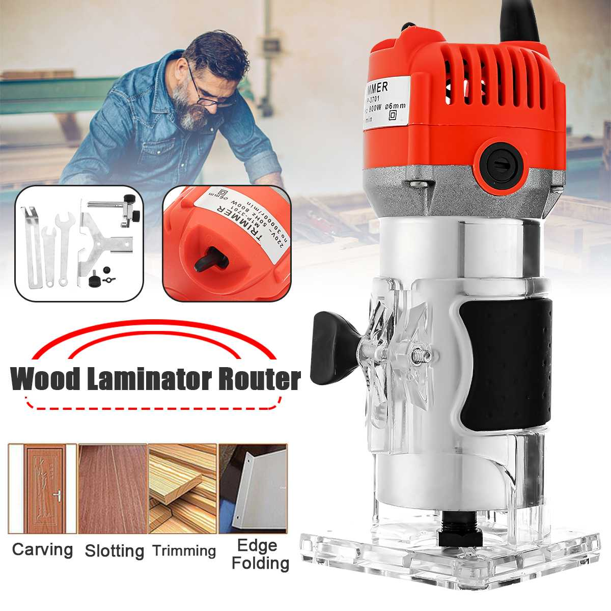 800W 30000RPM Woodworking Electric Trimmer Wood Laminate Router 6.35mm Small Copper Motor Carving Machine Woodworking DIY Tools Pakistan