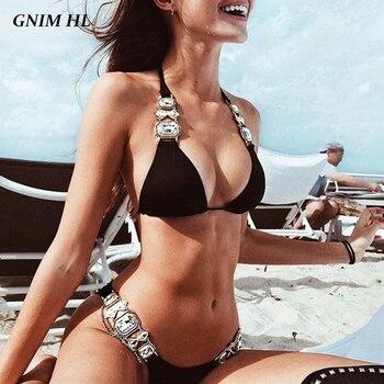 GNIM Rhinestone Metal Chain Bikini Swimsuit Woman Bandage Solid Swimwear 2019 Brazilian Sexy Bikini Bathing Suit Women Two Piece 2018 new two piece swimsuit women swimwear bikini long sleeve bandage women bathing suit beach outfits