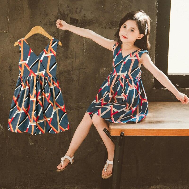 Sweet Dresses Baby Girl Princess Dress V-Neck Sleeveless Backless Dresses Children's Clothing Casual Summer 1