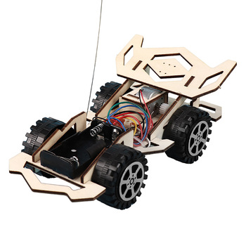 DIY RC Car Kids Toys Assembly Building Vehicle Toys Battery Powered Educational Toy Wooden Scientific Experiment Model Kits