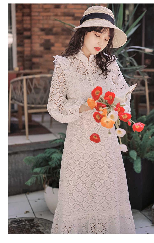 SMTHMA חדש סתיו וחורף לבן נשים תחרה שמלה ארוך שרוולים צווארון עומד נשים שיק שמלת מסלול לפרוע ארוך שמלה