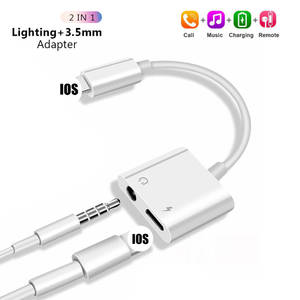 For iPhone11 Adapter 2 in 1 For Apple iPhone XS MAX XR X 7 8 Plus IOS 12 3.5mm Jack Earphone Adapter Aux Cable Splitteradaptador