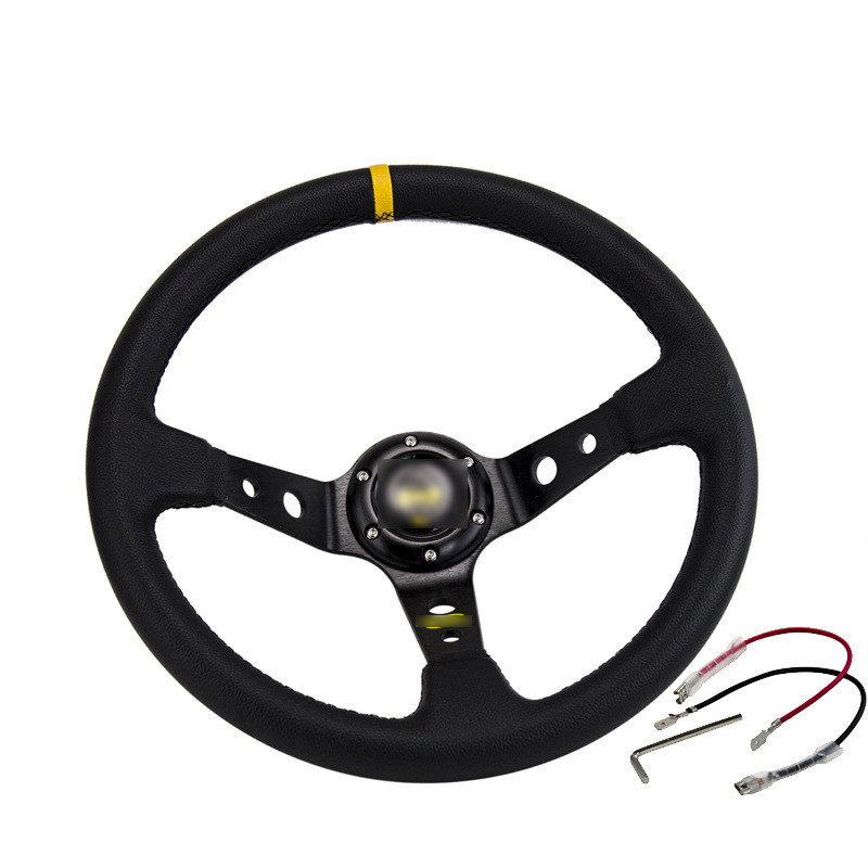 Car Modified Omp Steering Wheel Matte Leather 14 Inch / 350Mm Imitation Racing Competitive General