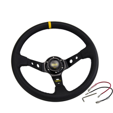 Car Modified Steering Wheel Matte Leather 14 Inch / 350Mm Imitation Racing Competitive General Steering   Wheel 350mm real leather steering wheel universal 14 inch flat steering wheel with black spoke