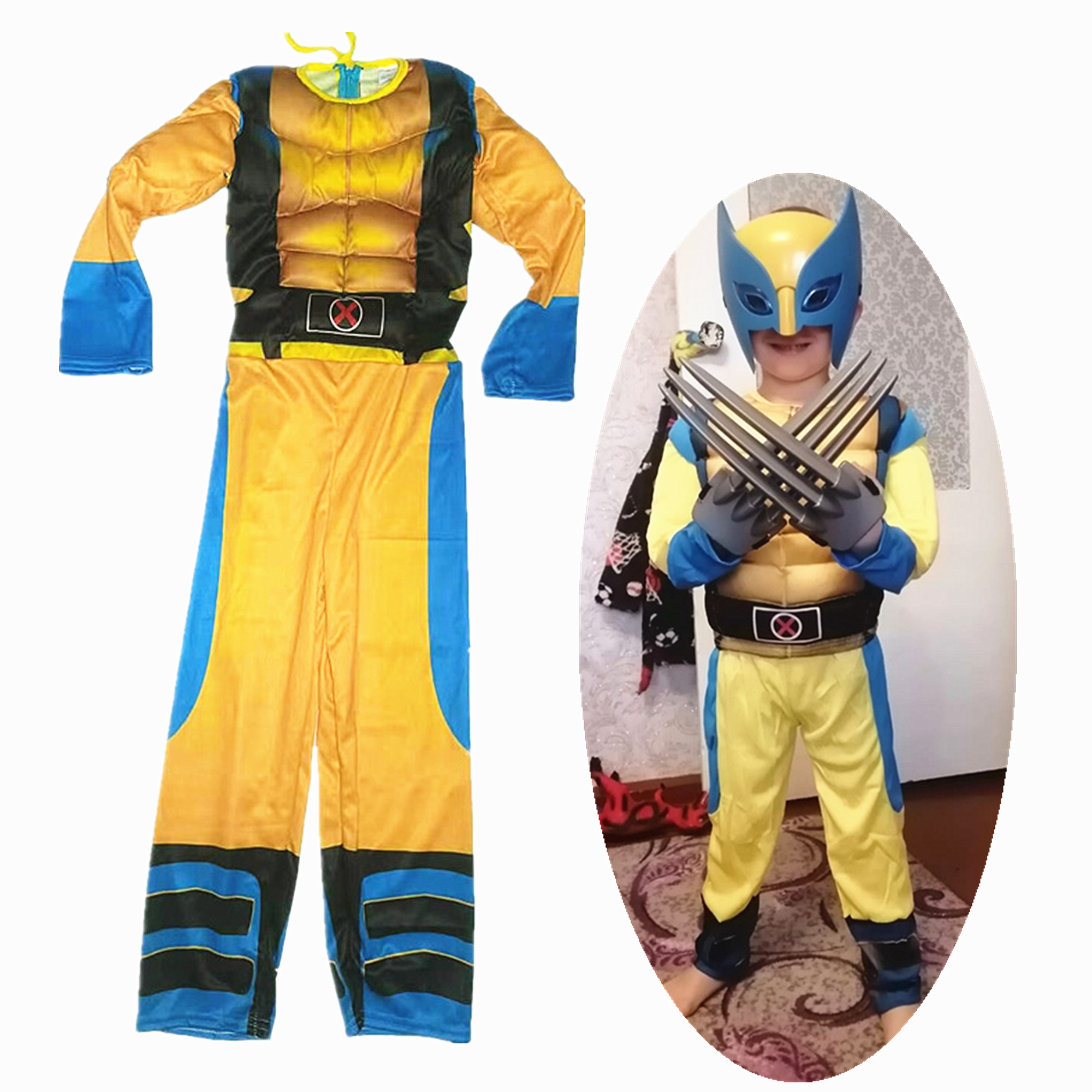 Child Wolverines Cosplay Costume Kids Boys Superhero Halloween/Carnival Cosplay Party Fancy Jumpsuit