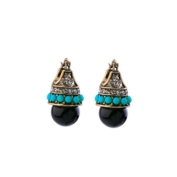 Vintage Gold Color Unique Black Light Blue Resin Crystal Drop Earrings For Women Gifts Fashion Jewelry Ear Hook Wholesale